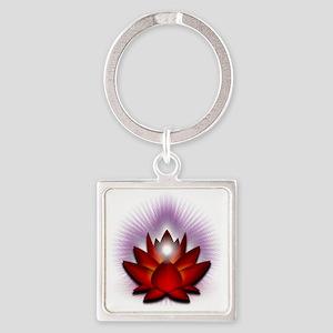 Chakra Lotus - Red Square Keychain