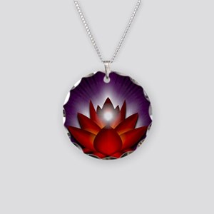 Chakra Lotus - Root Red - Gr Necklace Circle Charm