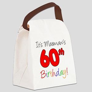 Meemaw 60th Birthday Canvas Lunch Bag