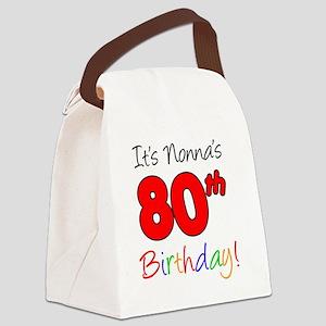 Nonnas 80th Birthday Canvas Lunch Bag