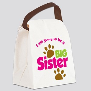 DogsPawPrintBigSisterToBe Canvas Lunch Bag
