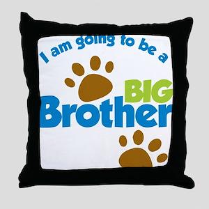 DogPawPrintBigBrotherToBe Throw Pillow
