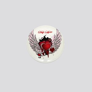 Urban Legend Red Heart with Pink Wings Mini Button
