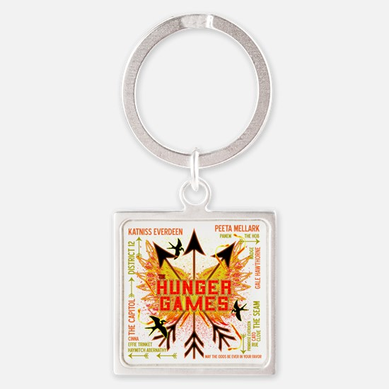 hunger games gear with 3 black arr Square Keychain