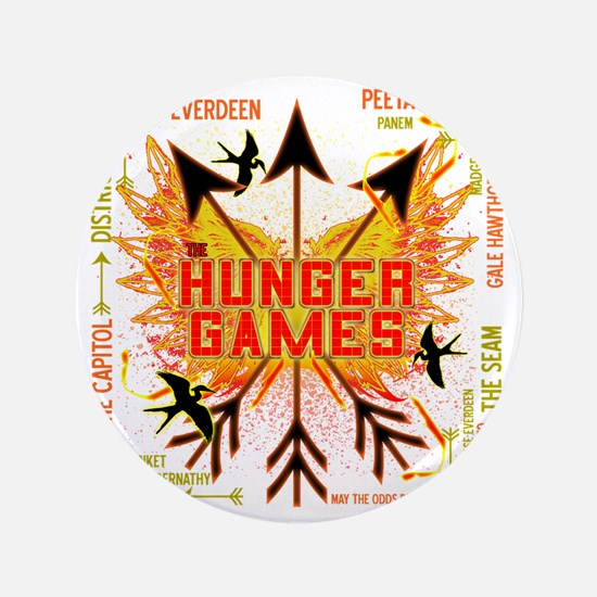 "hunger games gear with 3 black arrows  3.5"" Button"