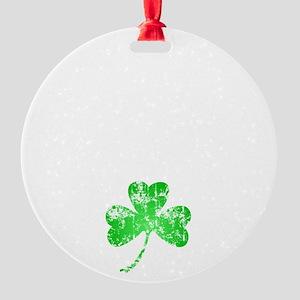 Lucky Shamrock -blk Round Ornament