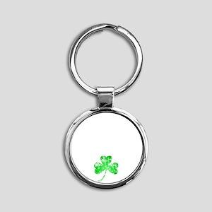 Lucky Shamrock -blk Round Keychain