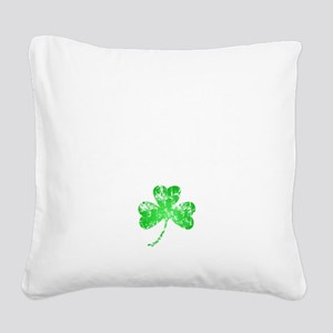 Lucky Shamrock -blk Square Canvas Pillow
