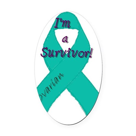 Ovarian_awareness_ribbon_round Oval Car Magnet