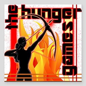 "katniss on fire version  Square Car Magnet 3"" x 3"""