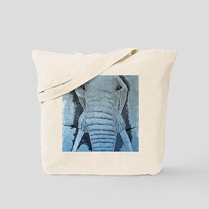 Elephant in Blue framed panel print Tote Bag