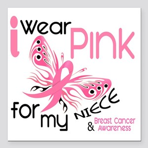 """- I Wear Pink for my Nie Square Car Magnet 3"""" x 3"""""""