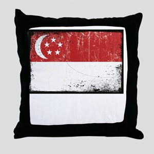 vintageSingapore3Bk Throw Pillow