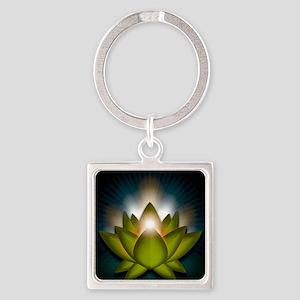 Chakra Lotus - Heart Green - squar Square Keychain