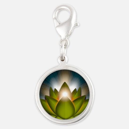 Chakra Lotus - Heart Green - G Silver Round Charm