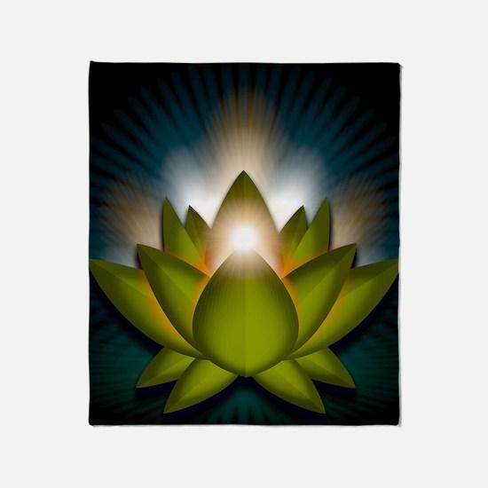 Chakra Lotus - Heart Green - Greetin Throw Blanket