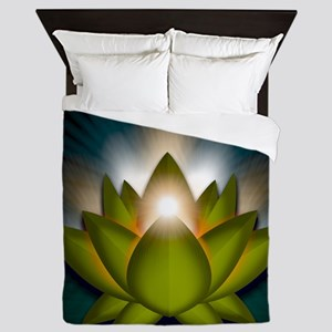 Chakra Lotus - Heart Green - Greeting  Queen Duvet