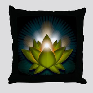 Chakra Lotus - Heart Green - Greeting Throw Pillow