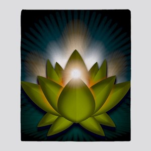 Chakra Lotus - Heart Green - square Throw Blanket