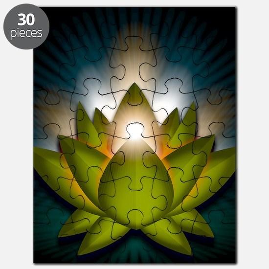 Chakra Lotus - Heart Green - Greeting Card Puzzle