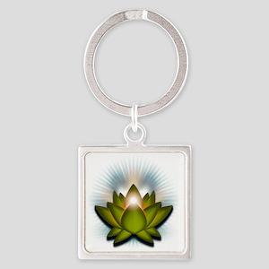 Chakra Lotus - Heart Green Square Keychain
