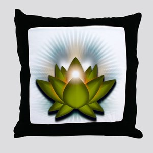 Chakra Lotus - Heart Green Throw Pillow