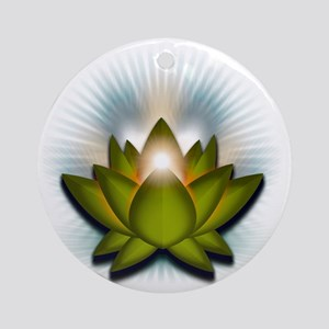 Chakra Lotus - Heart Green Round Ornament
