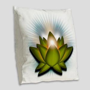 Chakra Lotus - Heart Green Burlap Throw Pillow