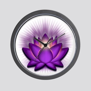 Chakra Lotus - Crown Violet Wall Clock
