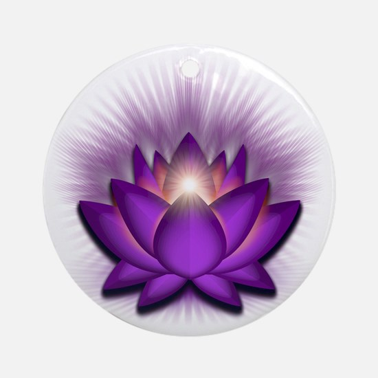Chakra Lotus - Crown Violet Round Ornament