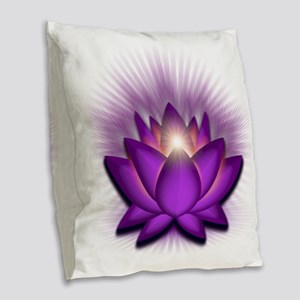 Chakra Lotus - Crown Violet Burlap Throw Pillow