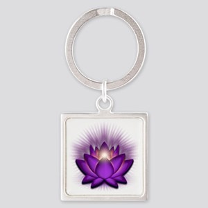 Chakra Lotus - Crown Violet Square Keychain