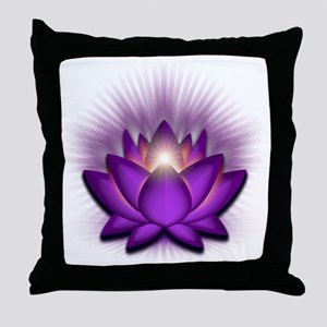 Chakra Lotus - Crown Violet Throw Pillow