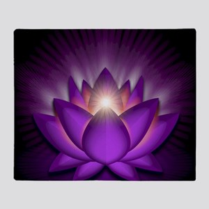 Chakra Lotus - Crown Violet - banner Throw Blanket