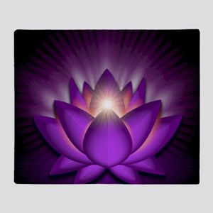 Chakra Lotus - Crown Violet - greeti Throw Blanket