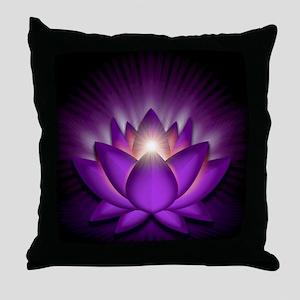 Chakra Lotus - Crown Violet - greetin Throw Pillow