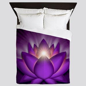 Chakra Lotus - Crown Violet - square Queen Duvet