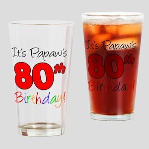 Papaws 80th Birthday Drinking Glass