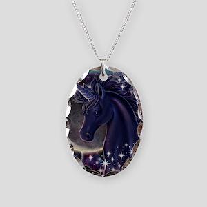 Stellar_Unicorn_16x16 Necklace Oval Charm