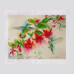 Hummingbirds in Fuschia Garden 2 Throw Blanket