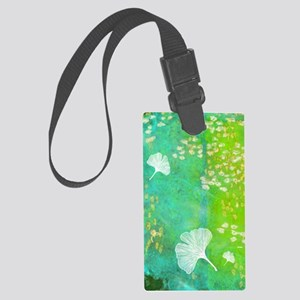 Green GInkgo tile_cellphone Large Luggage Tag