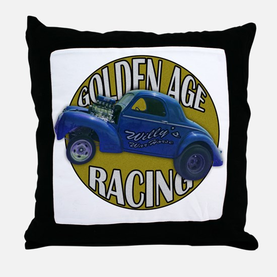 golden age willies navy gold Throw Pillow