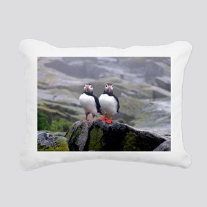 puffin twins Rectangular Canvas Pillow