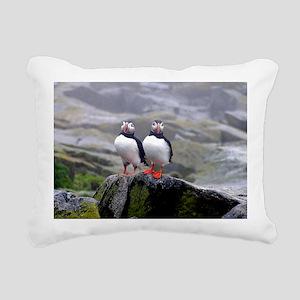 puffin twins Rectangular Canvas Pillow