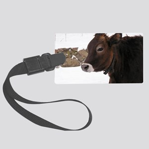 Lone cow Large Luggage Tag