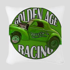 golden age willys green Woven Throw Pillow