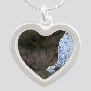 flying owl Silver Heart Necklace
