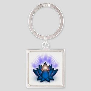 Chakra Lotus - Throat Blue Square Keychain