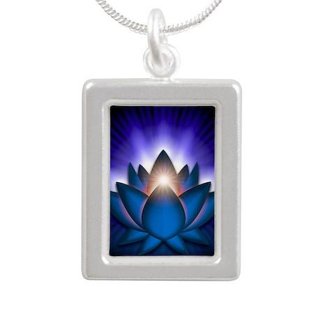 Chakra Lotus - Throat Bl Silver Portrait Necklace