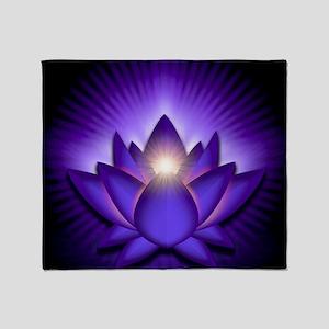 Chakra Lotus - Third Eye Purple - ba Throw Blanket